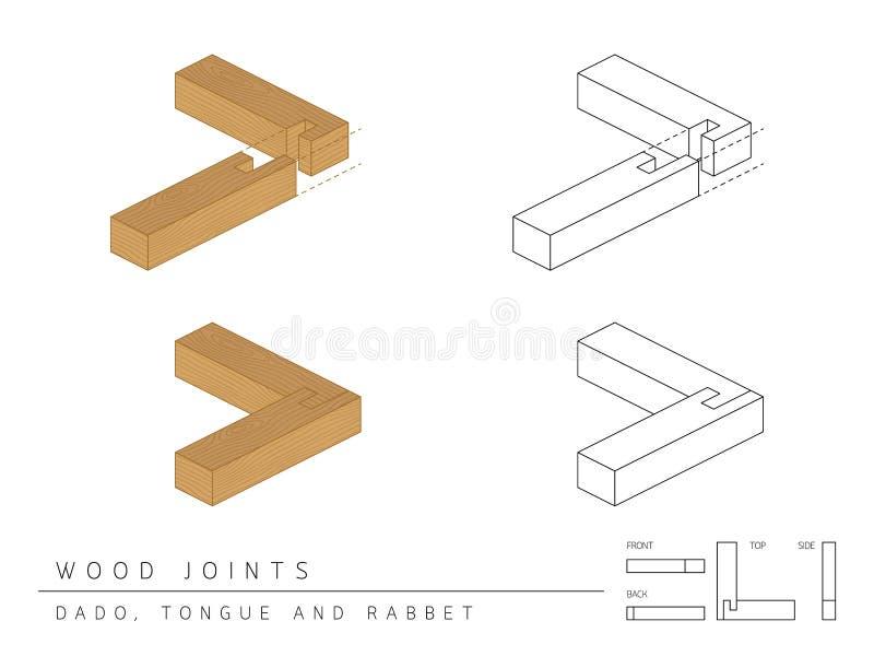 木联合集合达多、舌头和凹凸缝样式、透视3d与顶面前方和后面看法的类型隔绝在白色 库存例证