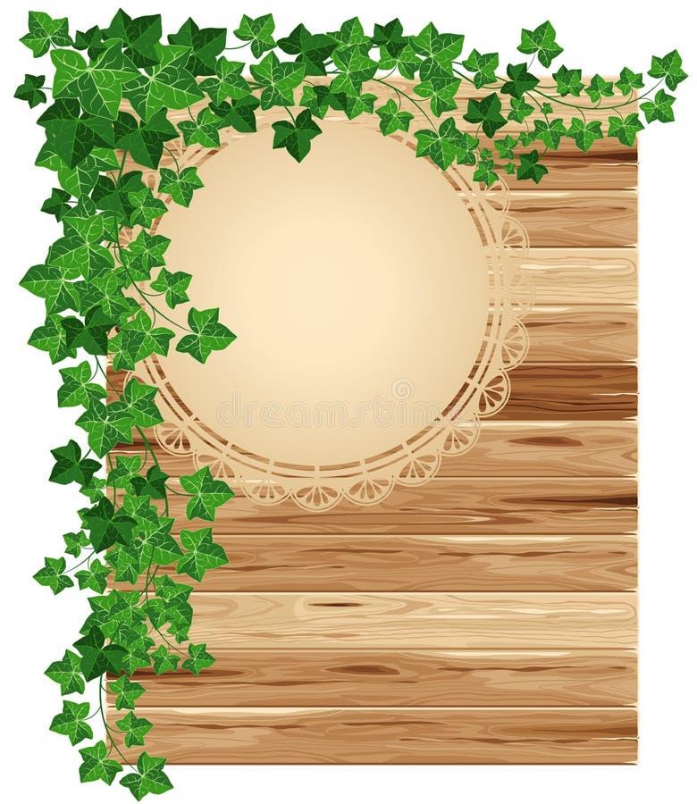 木背景的常春藤 向量例证