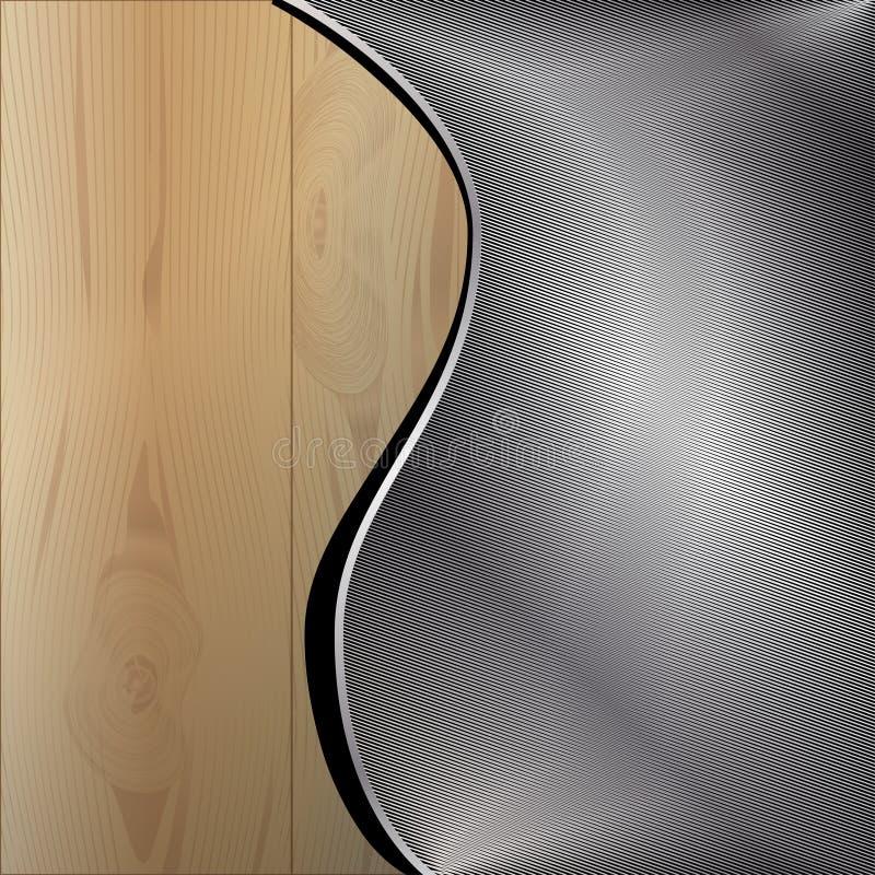 木背景的金属 库存例证