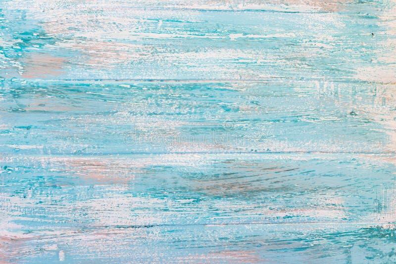 木背景 纹理,老委员会的表面从自然木头的用不同的树荫白色,棕色,蓝色,绿松石 库存例证