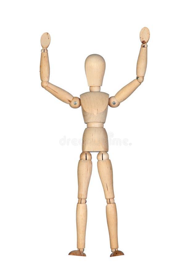 木胳膊延长的时装模特 免版税库存照片