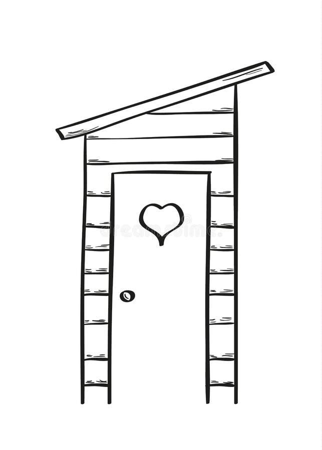 木茅厕的剪影 库存例证