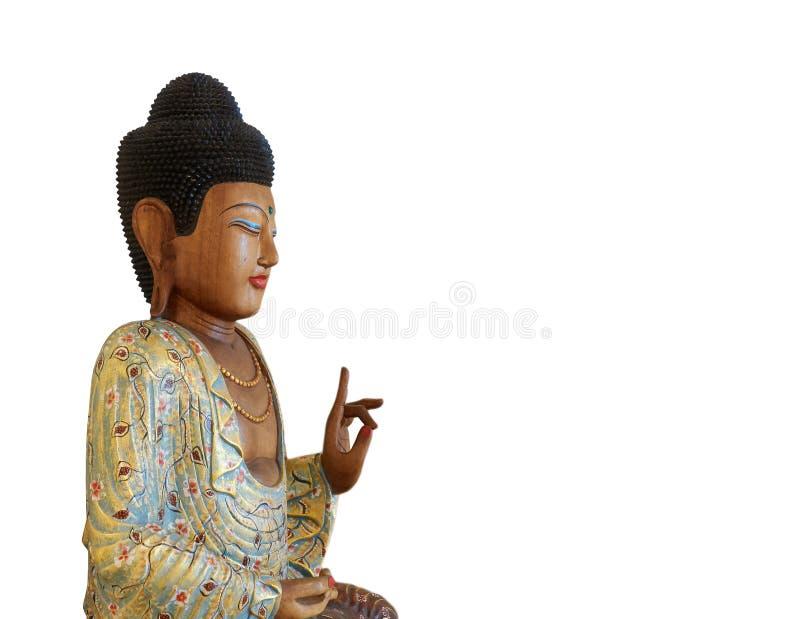 木菩萨雕象,坐在白色隔绝的莲花 图库摄影