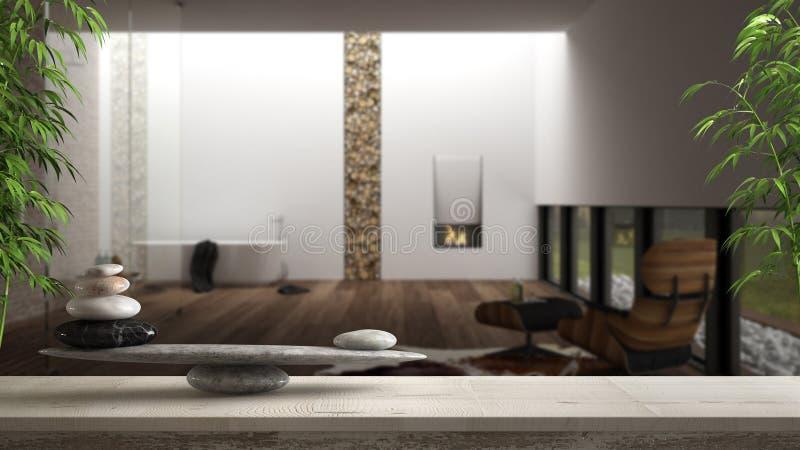 木葡萄酒桌或架子与石平衡,在被弄脏的豪华卫生间有浴缸、阵雨和壁炉的,风水,禅宗 库存图片