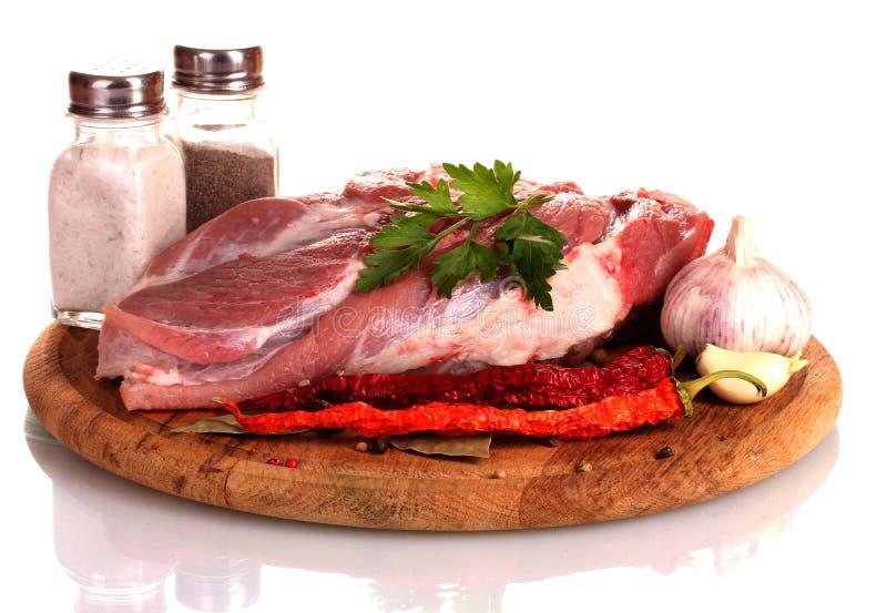 木董事会肉的未加工的蔬菜 库存照片