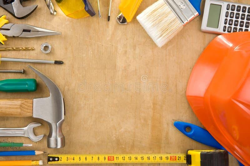 木董事会集合的工具 免版税库存图片