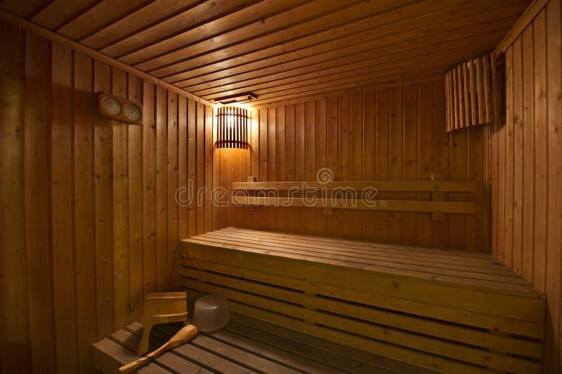 木蒸汽浴室 免版税库存照片