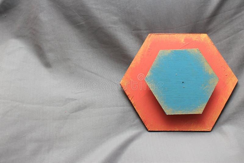 木蓝色和三文鱼六角形 图库摄影
