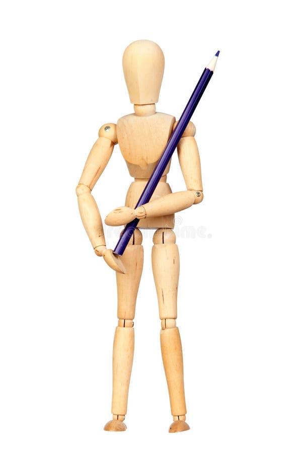木蓝色被联接的时装模特的铅笔 免版税库存照片