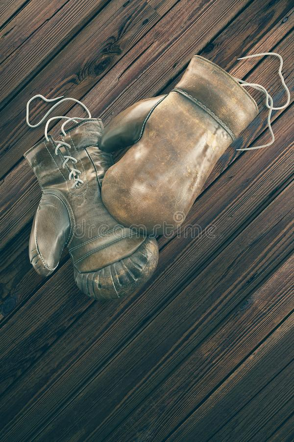 木表面上的老拳击手套与文本的拷贝空间 高分辨率3D回报 库存图片