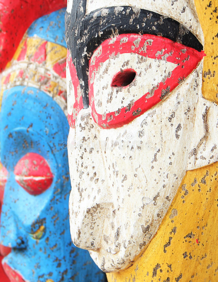 木被雕刻的礼节雕象面孔 免版税库存照片