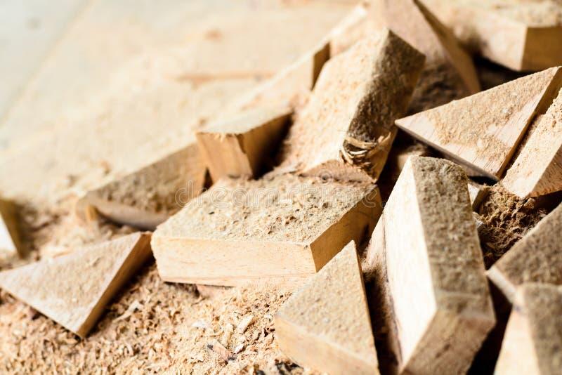 木裂片裁减和锯木屑 库存图片