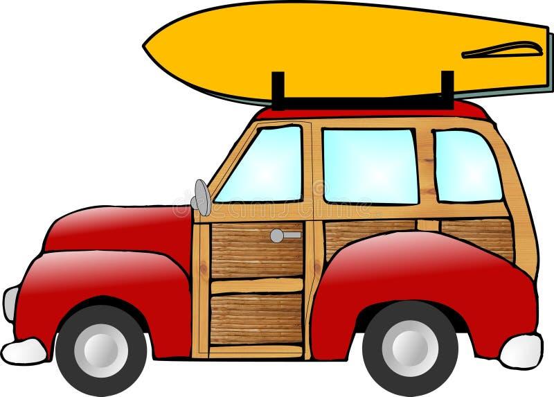 木质老的小型客车 库存例证