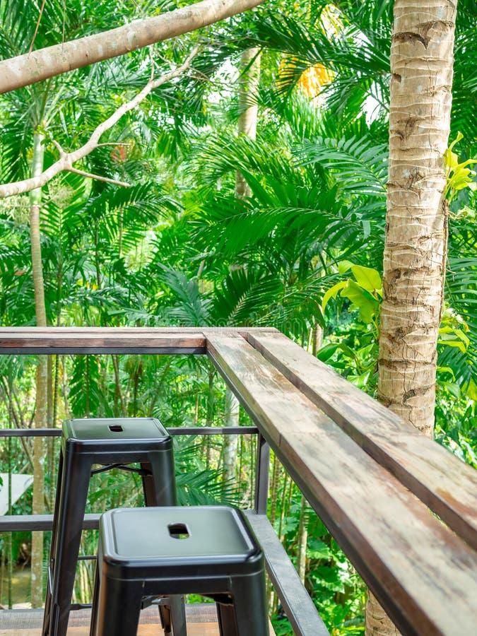 木逆酒吧和黑金属椅子在大阳台在森林背景垂直的样式 免版税图库摄影