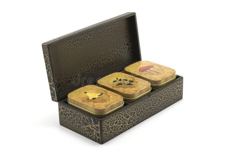 木配件箱的茶 库存照片