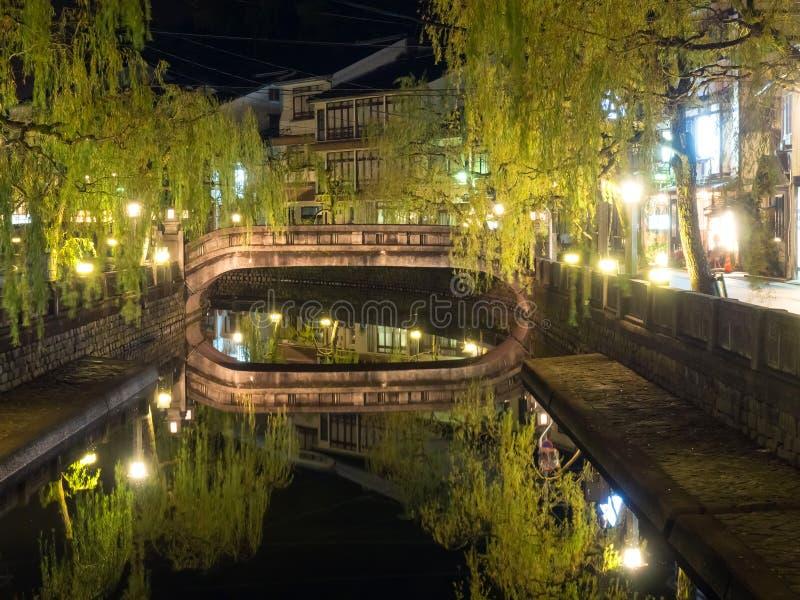 木野崎是小镇为onsen (日本式公开温暖的棒 免版税库存照片