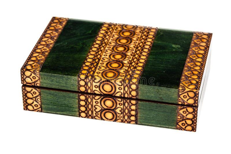 木镶嵌绿色小箱 库存照片