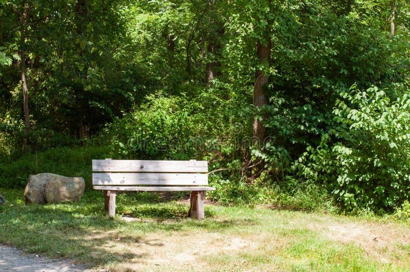 木长凳空的公园 图库摄影