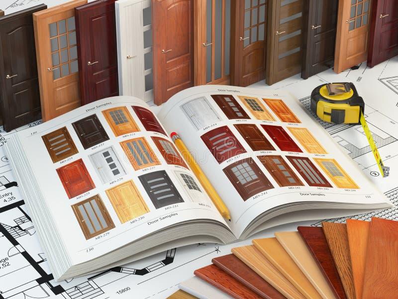 木门、cataiog与门样品和木头样品 库存例证