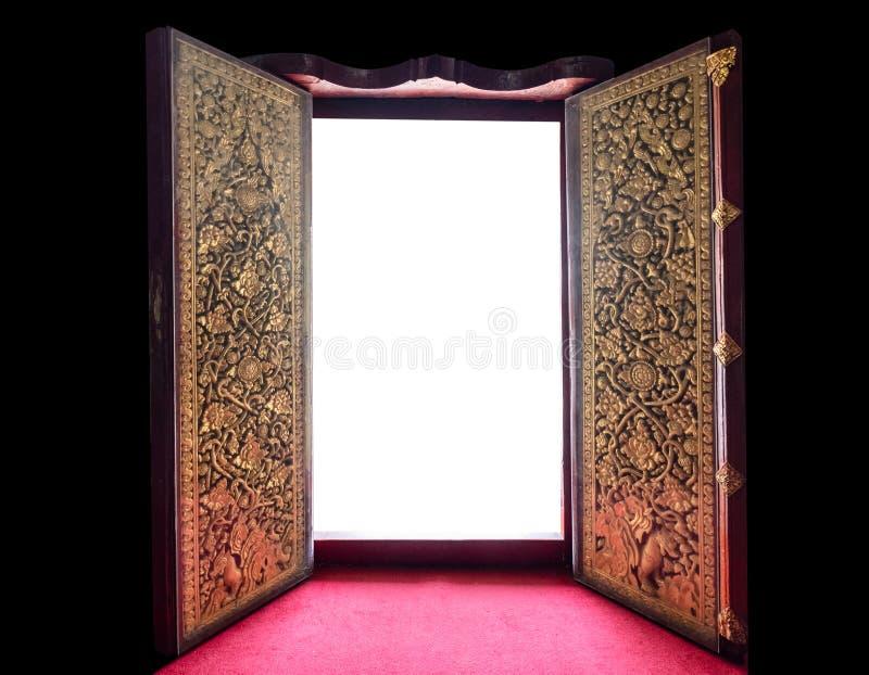 木门的开放古老金黄样式 库存照片