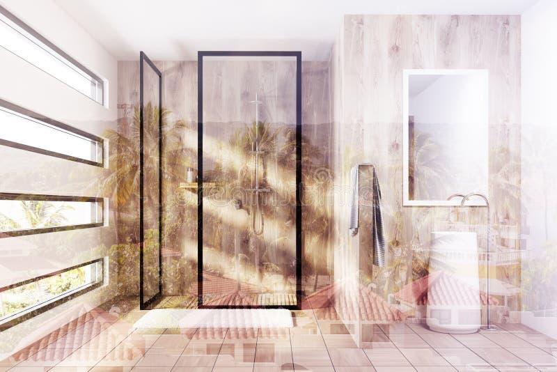 木阵雨和水槽,被定调子 库存例证