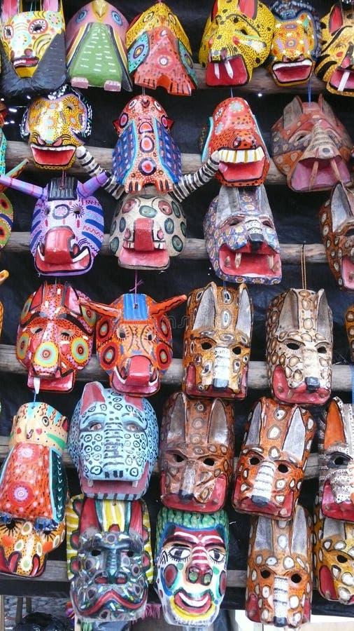 木面具。危地马拉 免版税图库摄影