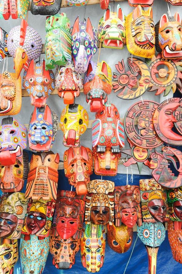 木面具在Chchicastenango市场上  免版税库存图片