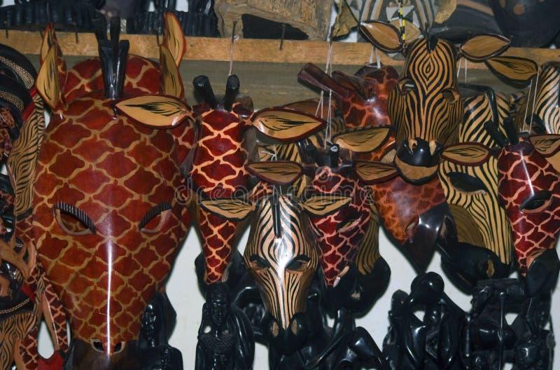 木面具,桑给巴尔石头城,桑给巴尔,坦桑尼亚 免版税图库摄影