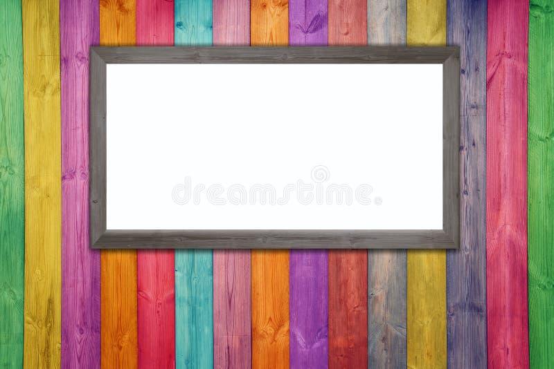 木颜色室和地板与whiteboard,照片框架 免版税库存图片