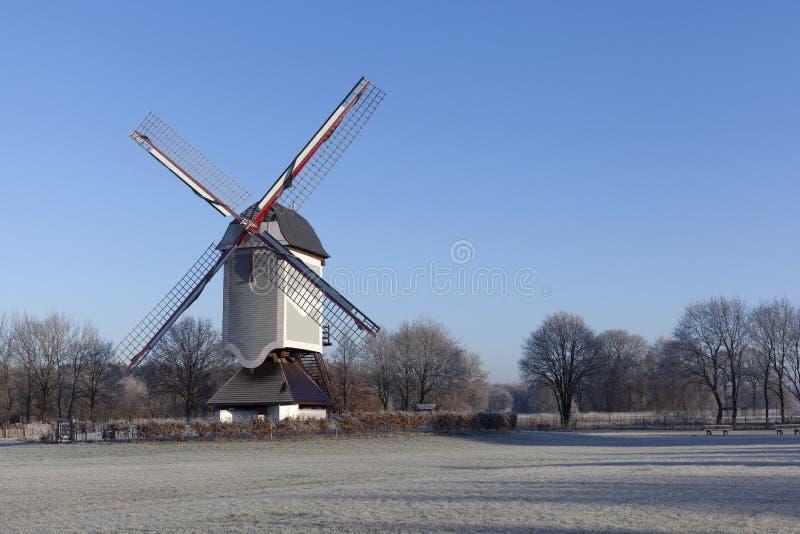 木风车在洛默尔,比利时 免版税库存照片