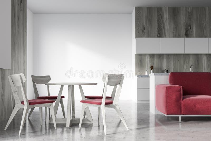 木餐厅,红色沙发 向量例证