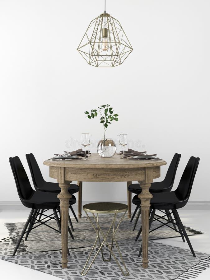 木餐桌和现代黑椅子 皇族释放例证