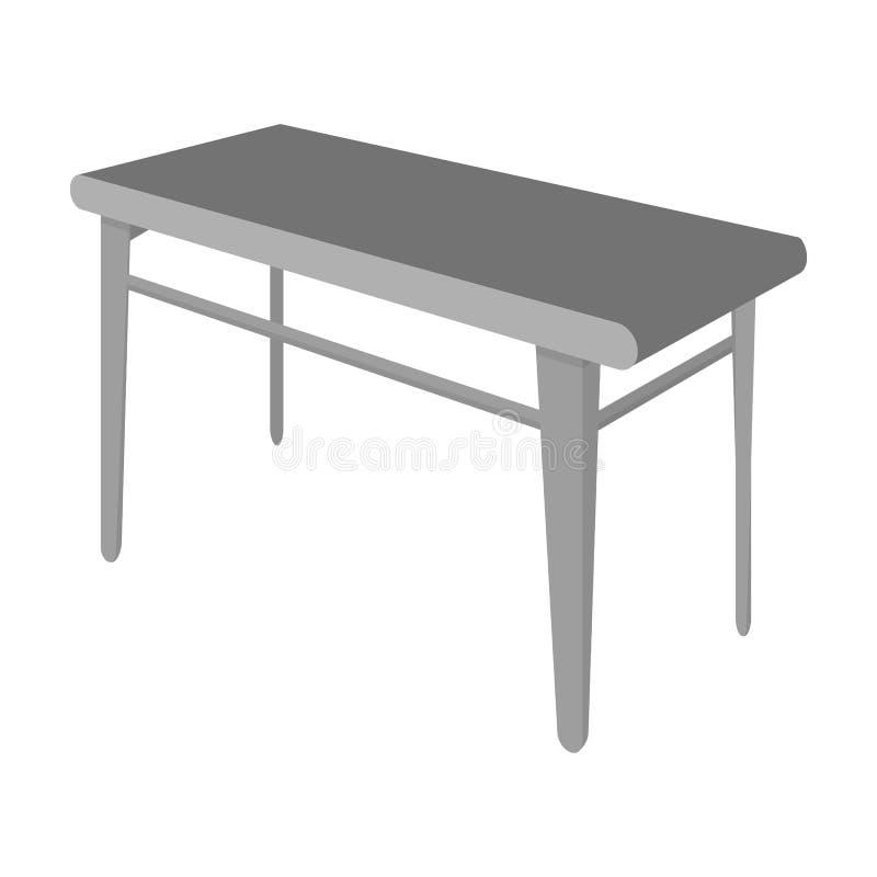 木,餐桌 家具和内部唯一象在单色样式等量传染媒介标志库存例证 库存例证