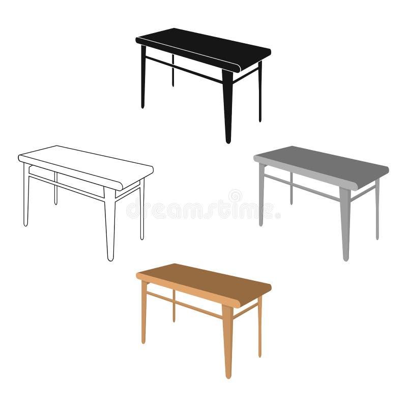 木,饭桌 家具和内部唯一象在动画片,黑样式等量传染媒介标志股票 皇族释放例证