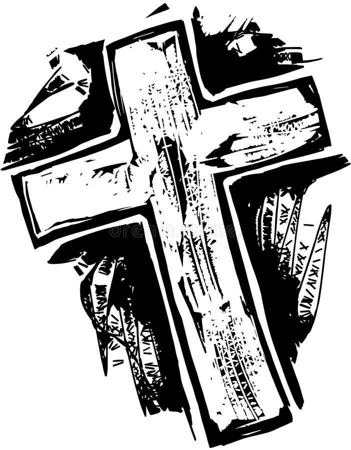 木刻十字架 库存例证