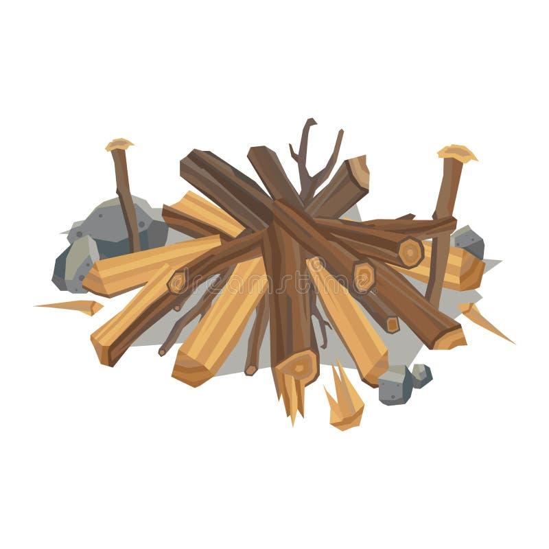 木柴堆传染媒介木材料 向量例证