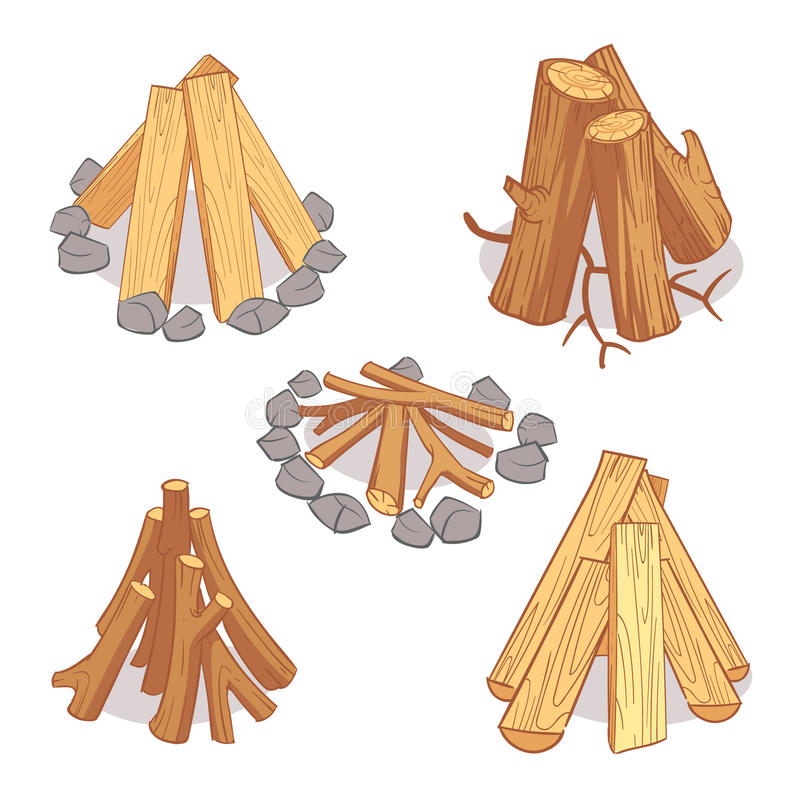 木头堆和硬木木柴,木日志动画片传染媒介集合 库存例证