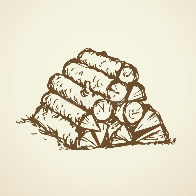 木柴 得出花卉草向量的背景 库存例证