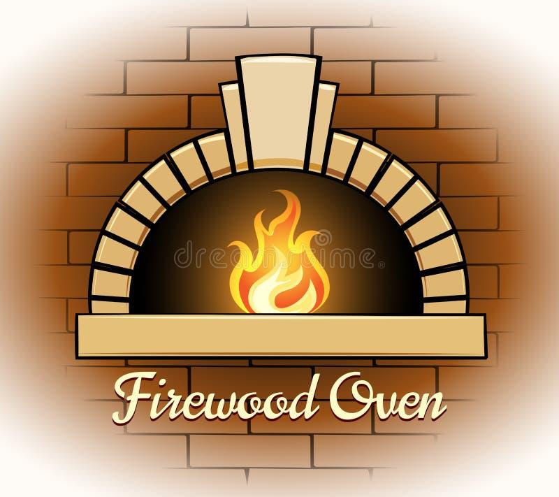 木柴烤箱商标或徽章 向量例证