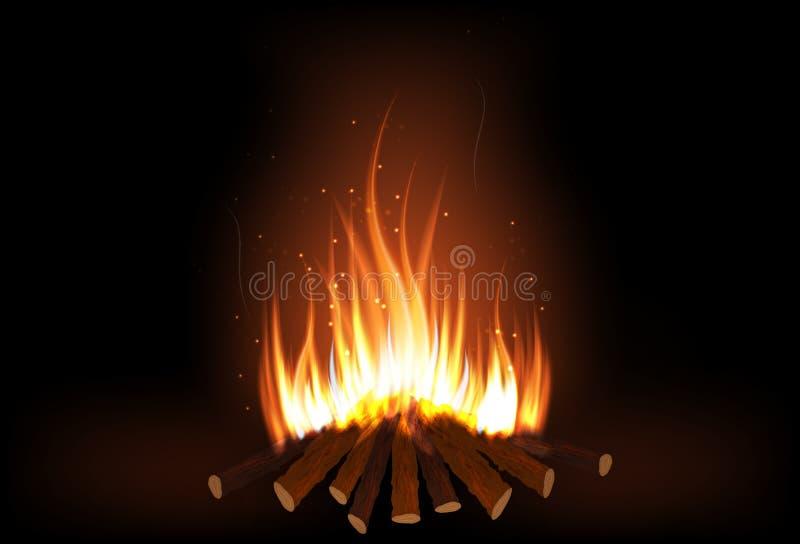 木柴燃烧 向量例证