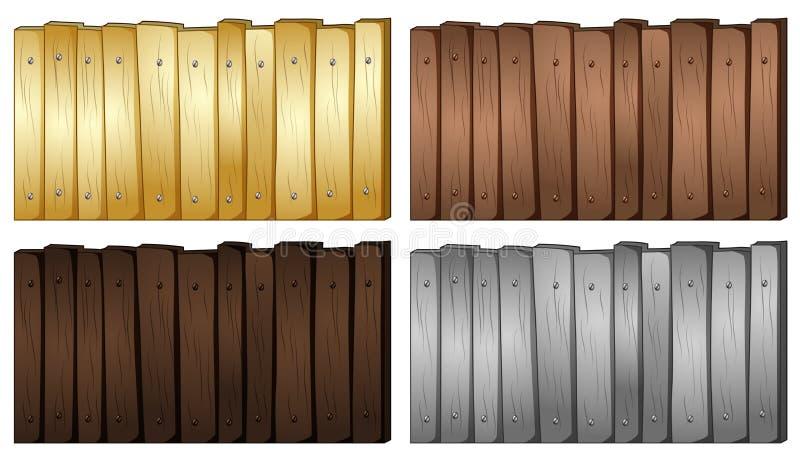 木头的四种颜色篱芭的 向量例证