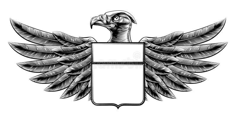 木刻盾老鹰 向量例证