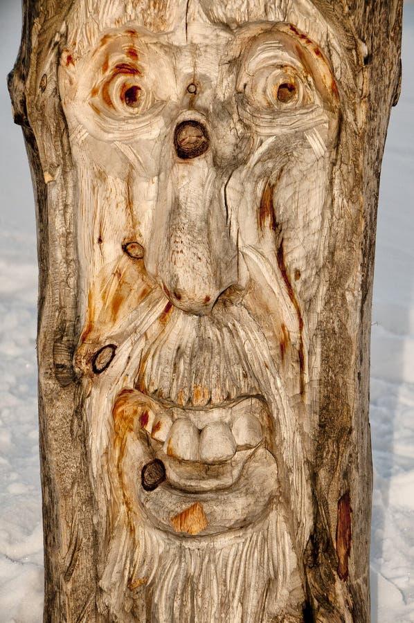 木头被雕刻的拖钓面孔 库存照片