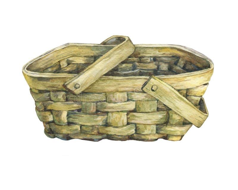 从木头wattled的篮子 皇族释放例证