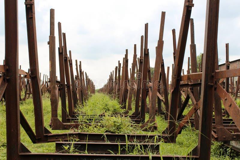 未使用的铁路支架 库存照片