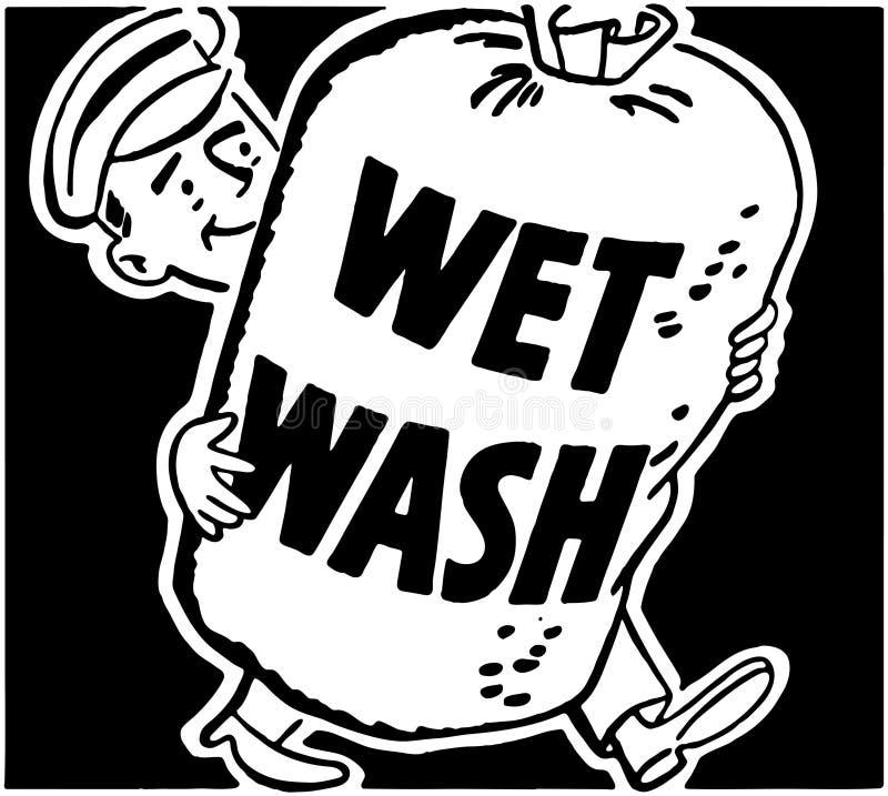 未充分干燥即送回的洗好的衣服 向量例证
