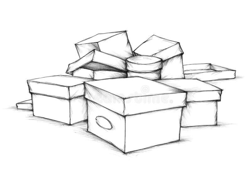 未分类的箱子 向量例证