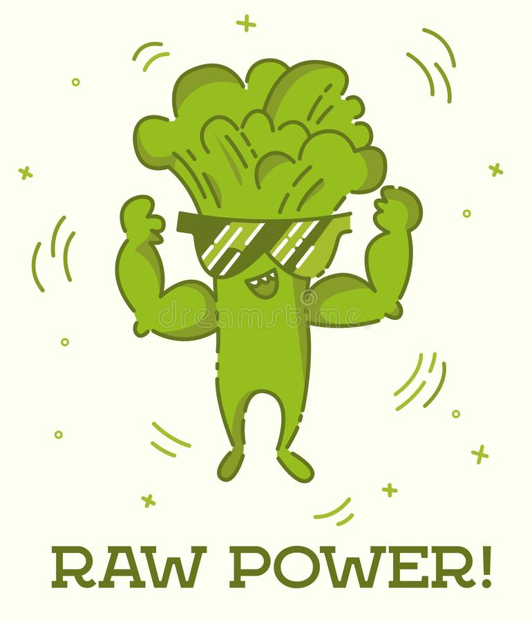 未加工的力量海报 硬花甘蓝人 逗人喜爱的kawaii动画片人 平的线设计 在太阳镜的健康素食主义者食物字符 ?? 图库摄影