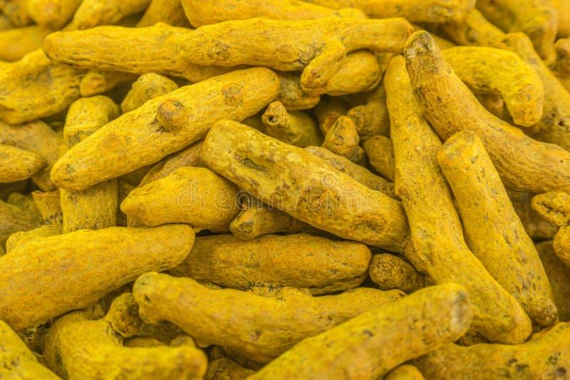 未加工的姜黄根香料市场在老德里,印度 库存图片