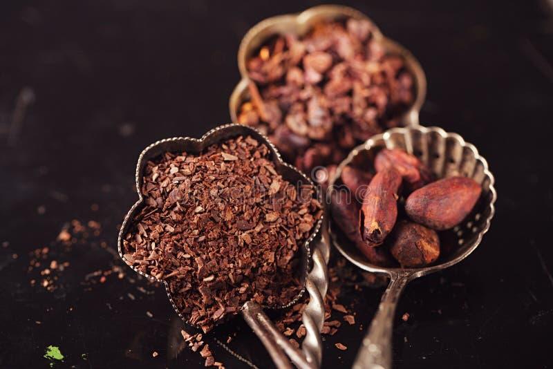 未加工的恶鸟嘴、切细的巧克力和可可子 免版税库存图片
